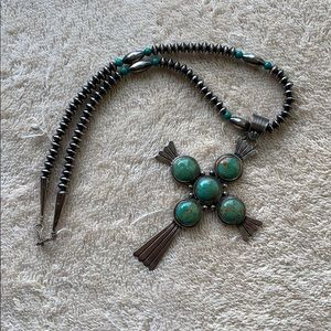 Turquoise and silver cross